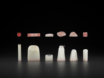 Lot 111 - SIX WHITE JADE SEALS, MID-QING TO REPUBLIC
