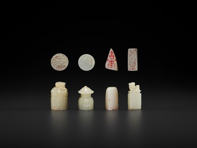 Lot 115 - FOUR JADE SEALS, ONE WITH 'SUPREME HARMONY', MID-QING TO REPUBLIC