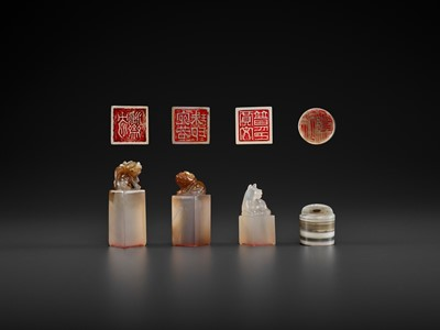 Lot 121 - FOUR AGATE SEALS, MID-QING TO REPUBLIC