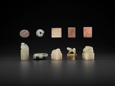 Lot 118 - FIVE HARDSTONE SEALS WITH ANIMALS, MID-QING TO REPUBLIC