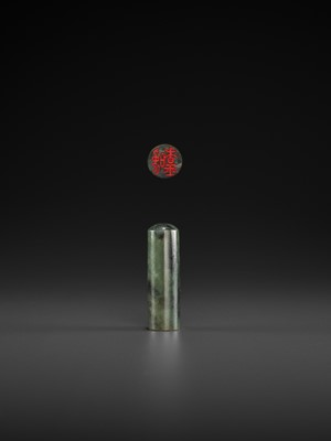 Lot 112 - A SPINACH-GREEN JADE SEAL, MID-QING TO REPUBLIC