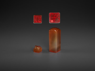 Lot 119 - TWO CHALCEDONY SEALS, MID-QING TO REPUBLIC
