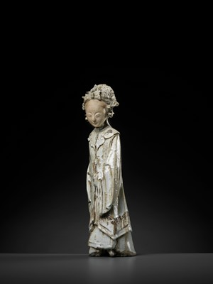Lot 142 - A QINGBAI FIGURE OF A NOBLE LADY, YUAN DYNASTY