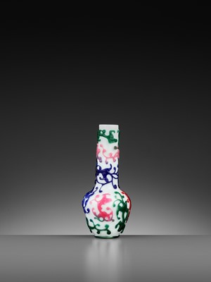 Lot 18 - A FIVE-COLOR OVERLAY GLASS 'CHILONG' BOTTLE VASE, QIANLONG MARK AND PERIOD