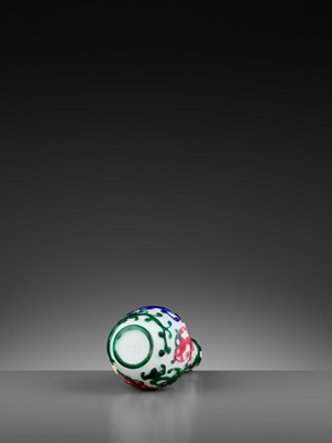 Lot 83 - A FIVE-COLOR OVERLAY GLASS 'CHILONG' BOTTLE VASE, QIANLONG MARK AND PERIOD