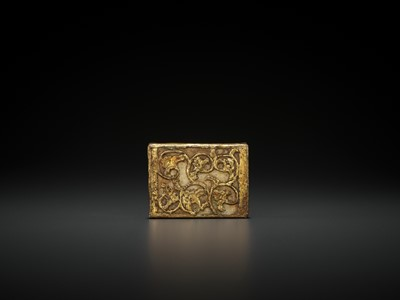 Lot 510 - A GILT BRONZE AND WHITE JADE 'DRAGON' BELT PLAQUE, TANG DYNASTY