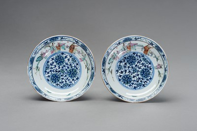 Lot 402 - A PAIR OF DOCAI PORCELAIN DISHES