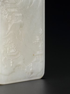 Lot 96 - A PALE CELADON JADE 'LANDSCAPE' PLAQUE, QING DYNASTY