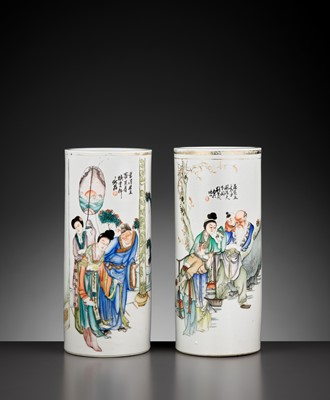 Lot 422 - TWO 'SCENES FROM THE TANG COURT' CYLINDRICAL VASES, REPUBLIC PERIOD