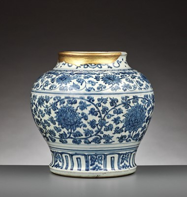 Lot 198 - A BLUE AND WHITE 'LOTUS' JAR, GUAN, MING DYNASTY