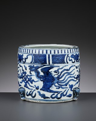 Lot 200 - A BLUE AND WHITE 'PHOENIX' CENSER, WANLI PERIOD
