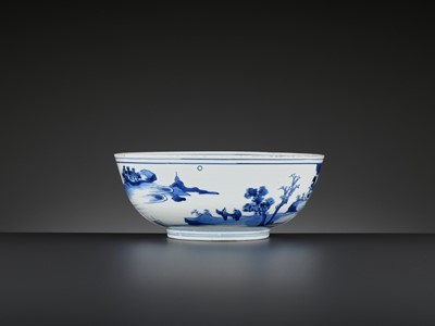 Lot 203 - A BLUE AND WHITE 'LANDSCAPE' BOWL, LATE MING DYNASTY