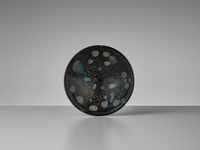 Lot 606 - A SMALL 'OIL SPOT' BLACK-GLAZED CONICAL BOWL, SONG DYNASTY