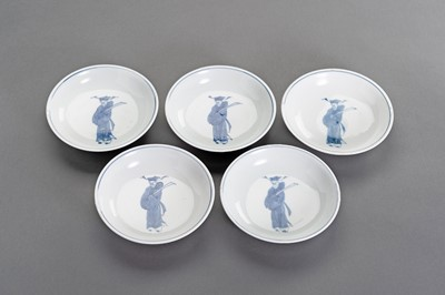 Lot 344 - NINE BLUE AND WHITE PORCELAIN 'MING COURT OFFICIAL' DISHES, KANGXI PERIOD