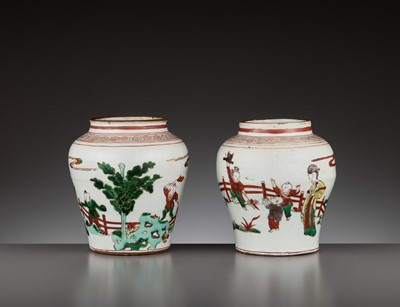 Lot 201 - A PAIR OF IRON-RED AND ENAMEL-DECORATED 'BOYS' JARS, TIANQI PERIOD