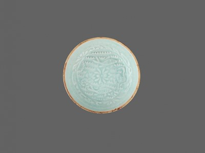Lot 171 - A MOLDED QINGBAI 'LOTUS POND' DISH, SOUTHERN SONG DYNASTY