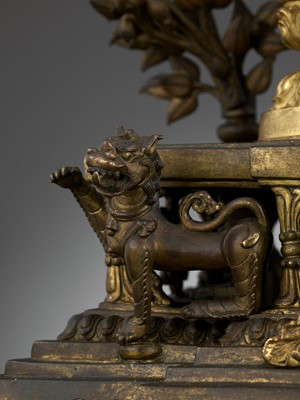 Lot 38 - A MONUMENTAL GILT BRONZE SHRINE DEPICTING SAMANTABHADRA AND CONSORT, 17TH – 18TH CENTURY