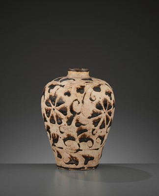 Lot 177 - A CIZHOU CUT-GLAZED 'FLORAL' MEIPING, NORTHERN SONG DYNASTY