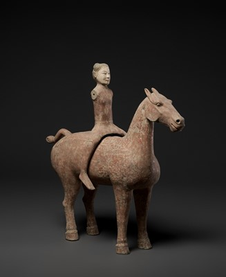 Lot 136 - A LARGE PAINTED GRAY POTTERY EQUESTRIAN GROUP, CHINA, EARLY WESTERN HAN DYNASTY, 2ND CENTURY BC