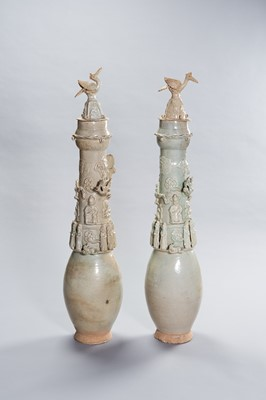 Lot 278 - A LARGE PAIR OF QINGBAI GLAZED BURIAL VASES WITH DAOIST DECORATION