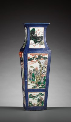Lot 375 - A POWDER BLUE-GROUND FAMILLE VERTE SQUARE BALUSTER VASE, LATE QING DYNASTY