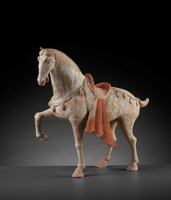 Lot 139 - A LARGE PAINTED POTTERY FIGURE OF A PRANCING HORSE, TANG DYNASTY