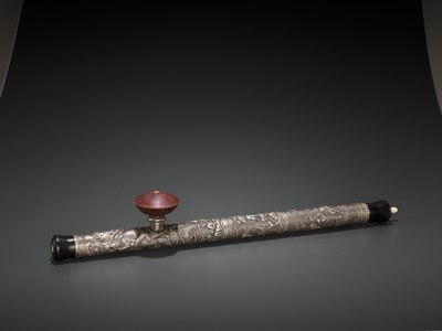 Lot 23 - A HARDWOOD OPIUM PIPE WITH BONE, SILVER AND YIXING CERAMIC FITTINGS, LATE QING TO REPUBLIC