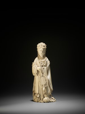 Lot 161 - YOSHIUJI: A MASSIVE IVORY OKIMONO OF BENTEN