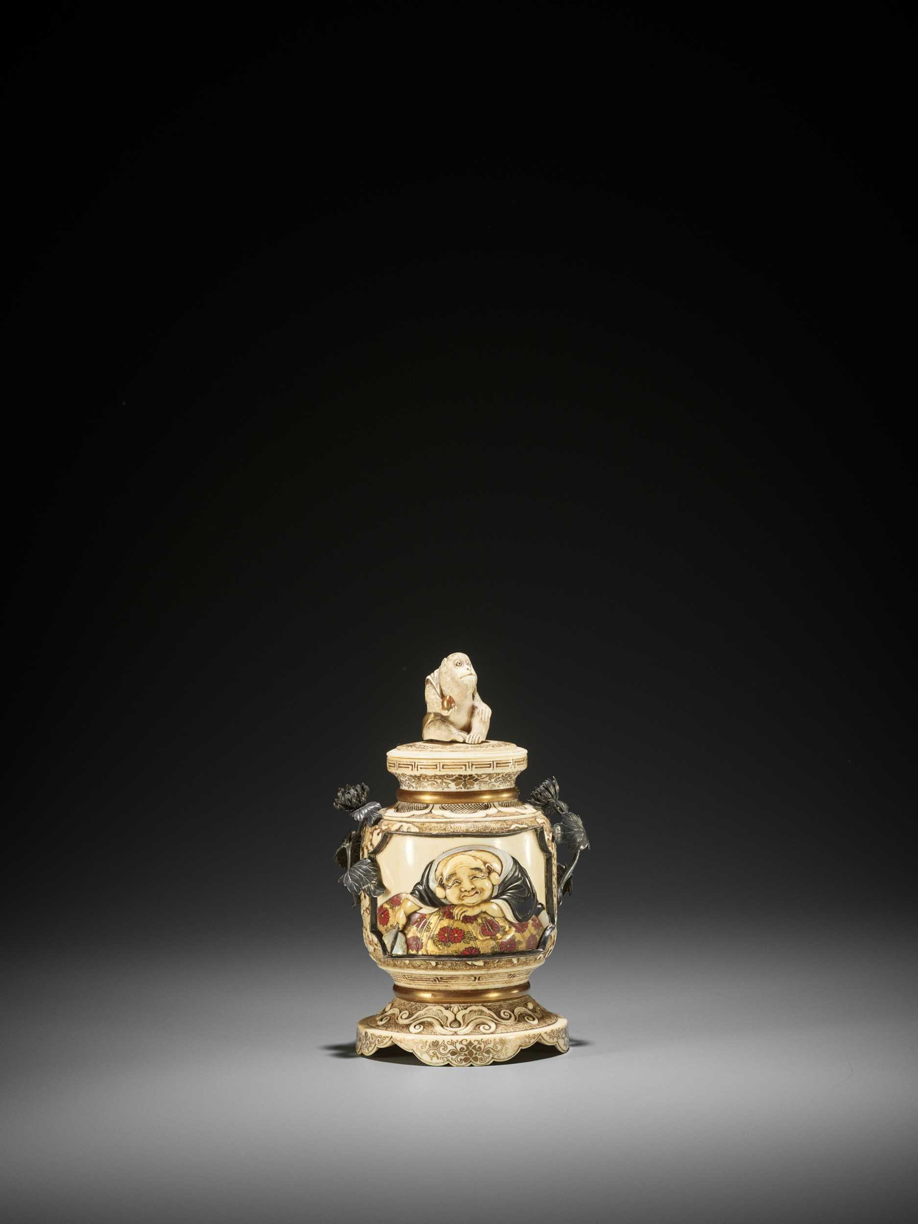 Lot 167 - A SMALL SHIBAYAMA INLAID IVORY 'KORO' JAR AND COVER WITH A MONKEY FINIAL