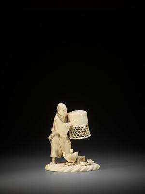 Lot 173 - MUNEHIRO: AN IVORY OKIMONO OF A POULTERER