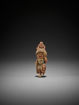 Lot 232 - SHUKO: A RARE SAISHIKI NETSUKE OF SHOKI AND ONI