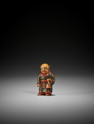 A LACQUERED WOOD NETSUKE OF A KARAKO, ATTRIBUTED TO SANSHO