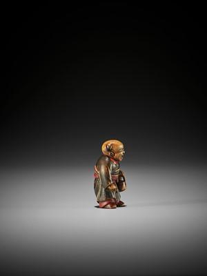 A LACQUERED WOOD NETSUKE OF A KARAKO, ATTRIBUTED TO SANSHO