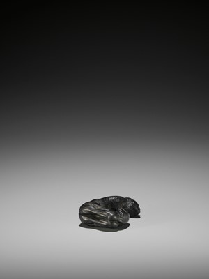 Lot 32 - KIYOSHI: A LARGE EBONY NETSUKE OF GAMA SENNIN AND HIS TOAD