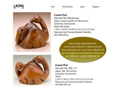 Lot 33 - TAKETATSU: A VERY RARE WOOD NETSUKE OF TWO CAMELS