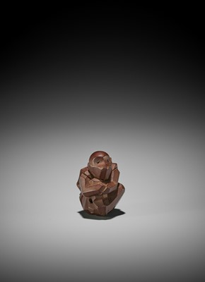 Lot 149 - SUKENORI: A RARE ITTOBORI WOOD NETSUKE OF A MONKEY