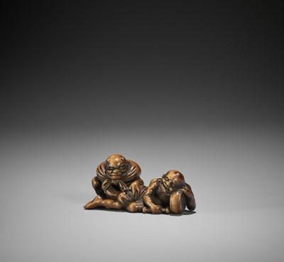 Lot 166 - A RARE WOOD NETSUKE OF RAIJIN AND FUTEN