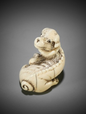 Lot 60 - AN IVORY NETSUKE OF A DOG WITH BALL, ATTRIBUTED TO MITSUHARU