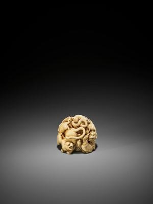 Lot 81 - KAIGYOKUSAI MASATSUGU: A SUPERB AND RARE IVORY NETSUKE-OKIMONO OF THE ZODIAC WITH SECRET INTERIOR