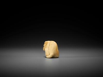 Lot 45 - OKATOMO: A FINE IVORY NETSUKE OF A RAT WITH CANDLE