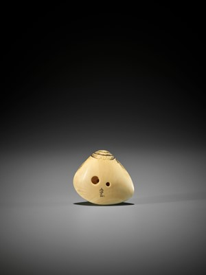 YUKIMASA: AN IVORY NETSUKE OF AN AMA WITH OCTOPUS