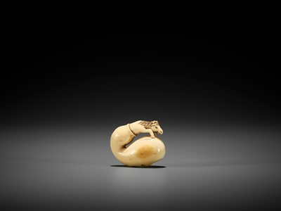 Lot 35 - A CHARMING SMALL IVORY NETSUKE OF CHOKARO'S HORSE IN A GOURD