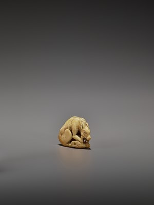 AN EARLY IVORY NETSUKE OF A WOLF WITH HAUNCH