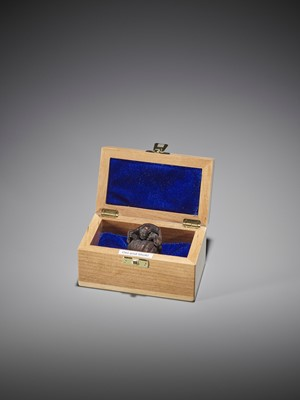 Lot 366 - ALEXANDER DERKACHENKO: A BOXWOOD NETSUKE OF ONI WITH SHOKI
