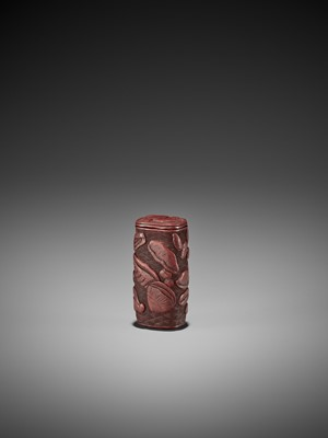 Lot 315 - A RARE AND EARLY TSUISHU LACQUER NETSUKE WITH SHELLS AND REISHI