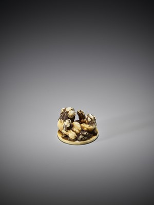 A FINE IVORY NETSUKE OF A GROUP OF SHISHI