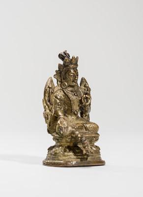 Lot 543 - A SINO-TIBETAN MINIATURE BRONZE OF SYAMATARA, 18TH-19TH CENTURY