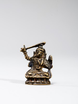 Lot 541 - A TIBETAN MINIATURE BRONZE OF MANJUSHRI, 18TH-19TH CENTURY