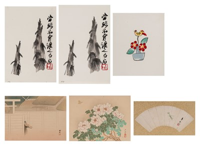 A GROUP OF COLOR WOODBLOCK PRINTS, HAND-COLORED PRINT AND MOUNTED FAN-SHAPED DRAWING