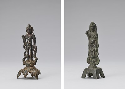 Lot 573 - A BRONZE FIGURE OF A BODHISATTVA, TANG STYLE AND POSSIBLY OF THE PERIOD